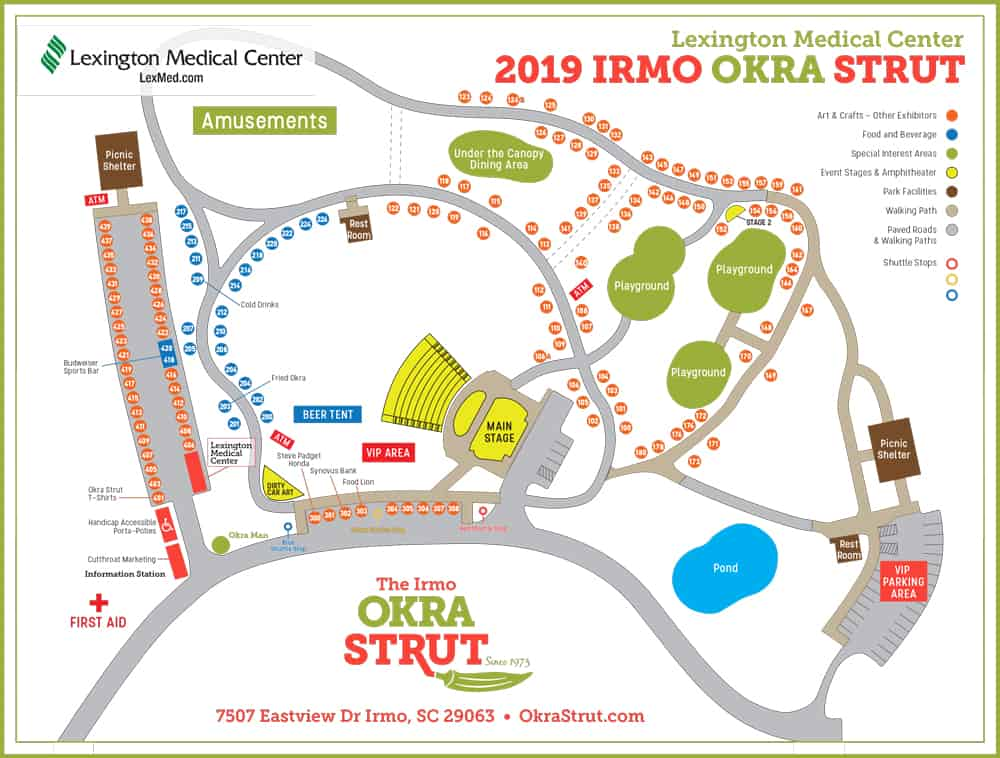the 2019 Okra Strut Park Map