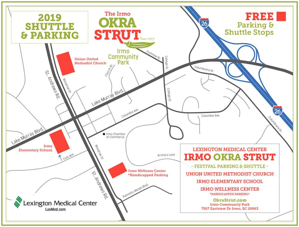 the 2019 Okra Strut Shuttle Bus Map